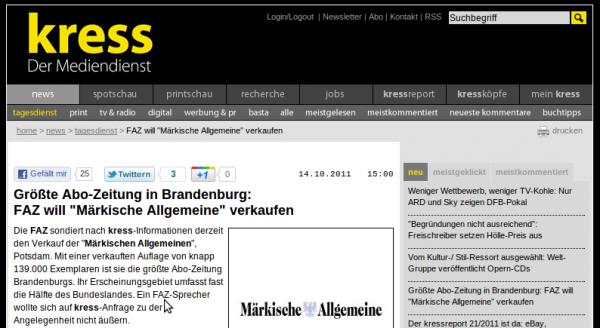 """kress: FAZ will """"Märkische Allgemeine"""" verkaufen"""