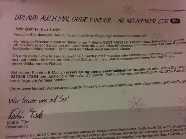 Brief vom Ahorn Hotel Birkenhof****