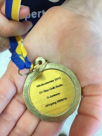 Medaille vom Nikolausturnier 2015 SV Blau-Gelb Berlin